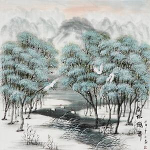 自由画家 小蒙《溪林鹤舞》冬季