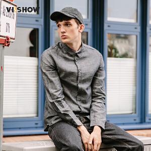 viishow2017潮牌男装春季新款长袖衬衫修身纯色衬衣青年方领寸衫