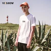 VIISHOW2017夏装新品休闲短袖T恤纯棉文字印花个性青年男士短t