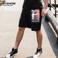 viishow夏装新款休闲短裤 欧美街头潮流短裤男 印花五分裤