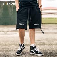 VIISHOW2017夏装新品休闲短裤男字母刺绣绑带抽绳纯棉男士五分裤