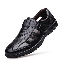 驭客2017新款男凉鞋真皮夏季男士休闲洞洞鞋牛皮沙滩凉鞋日常户外男鞋子1P2016