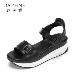 Daphne/达芙妮17夏正品学院风露趾厚底凉鞋 时尚拼色搭扣通勤女鞋