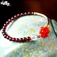 凤凰涅磐时尚复古石榴石红玛瑙手链女 单圈民族风镀金手工饰品