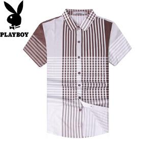 花花公子条纹短袖衬衫男春夏新品时尚商务休闲纯棉男士短袖衬衫