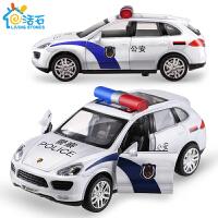 活石 儿童玩具车合金车模型汽车模型回力车摆件兰博基尼警车带灯光和音乐