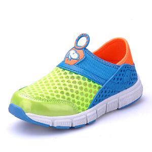 史努比童鞋夏季单网透气儿童运动鞋轻便套脚时尚男童鞋女童鞋
