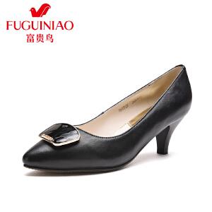 富贵鸟 年春季新品 时尚头层牛皮金属装饰单鞋女鞋酒杯跟工作鞋