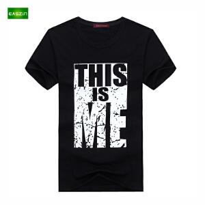 逸纯印品(EASZin)短袖男t恤 韩版短袖T恤时尚THIS文字印花男士大码加肥T恤衫