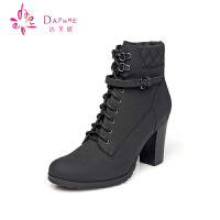 Daphne/达芙妮女鞋 冬季高跟短靴 粗跟时尚女靴子1014605315