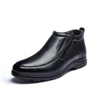 富贵鸟男鞋 冬季新款加绒棉鞋英伦套脚男士商务休闲高帮鞋