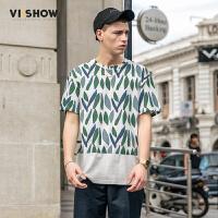 viishow短袖T恤男夏季201新款圆领修身青少年体恤潮牌印花男士