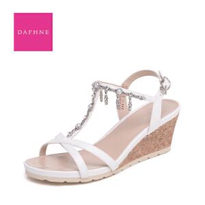 Daphne/达芙妮 夏 时尚水钻珍珠流苏坡跟女凉鞋10 303187