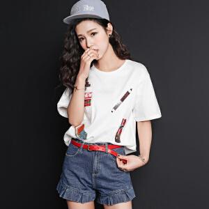 【9.21超级品牌日】七格格夏装新款珠片绣卡通图案体恤圆领五分短袖直筒T恤女