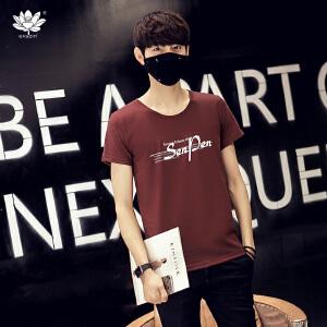 EASZin逸纯印品 男士短袖t恤 韩版大码字母SenPen印花棉体恤衫 圆领宽松版