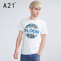 以纯A21男装修身圆领印花短袖T恤 休闲白色潮T男2017夏装新品体恤男士