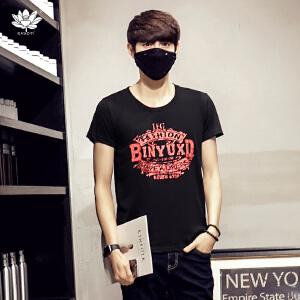 EASZin逸纯印品 男士短袖t恤 夏季韩版大码加肥复古印花体恤衫潮T 圆领