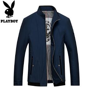 花花公子男士立领纯色夹克休闲商务jacket青年棒球服外套