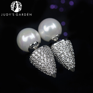 【茱蒂的花园】925银针松果珍珠耳钉范爷同款MONACO时尚风格APM耳环耳饰耳坠饰品首饰女款女式