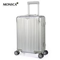 摩斯卡monsca20寸铝镁合金行李箱海关锁登机箱万向轮金属旅行箱铝镁合金拉杆箱万向轮