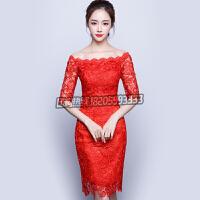 敬酒服新娘短款2016新款时尚红色一字肩旗袍订婚结婚礼服修身显瘦