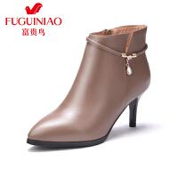 富贵鸟女鞋 秋冬新品女靴英伦尖头高跟单靴女细跟马丁靴子