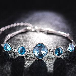 【茱蒂的花园】S925银蓝佳人A级合成锆石水晶钻手链时尚饰品女款手镯女士银饰女式手饰送女友情人节礼物纯