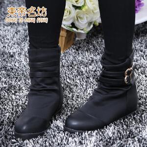东帝名坊新款女鞋 英伦时尚马丁靴机车靴 简约内增高女靴32878