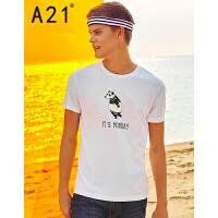以纯线上品牌a21 2017夏装新款短袖T恤男 个性熊猫印花圆领短袖衫