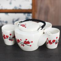 普润 陶瓷梅花茶具五件套 瓷茶具百家姓创意茶具五件套