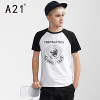 男士短袖T恤 修身圆领黑白男衫 半袖印花青年棉质衣服夏季潮牌