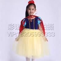 女童礼服儿童春夏短袖纯棉蓬蓬裙 迪士尼白雪公主裙演出服 六一幼儿灰姑娘表演服