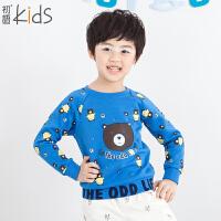 初语童装卡通男童卫衣2016春装新款可爱字母加绒套头儿童卫衣