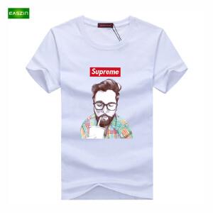 逸纯印品(EASZin)16夏季新款韩版短袖T恤卡通sup可乐老头印花男士大码加肥T恤衫潮