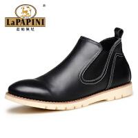 蓝帕佩尼男靴百搭牛皮靴子男士时尚马丁短靴 男士英伦贵族高帮靴子 工装高帮皮鞋 休闲男靴