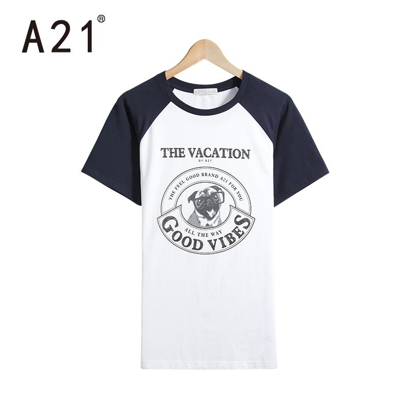 男士短袖t恤 修身圆领黑白男衫 半袖印花青年棉质衣服夏季潮牌_深蓝