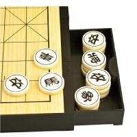 友邦大棋盘2合1十九路围棋中国象棋套装磁性折叠双面棋实木象棋 木制双面棋盘