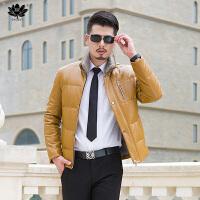 逸纯印品(EASZin)男士羽绒服 2016冬仿真水洗皮羽绒服男式立领皮装外套