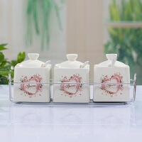 红兔子 韩式田园彩绘 陶瓷调味罐调味瓶调味盒套装礼品 花色随机