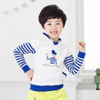 初语童装条纹儿童卫衣2016新款圆领套头加绒卡通男童卫衣