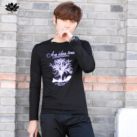 逸纯印品(EASZin)男士长袖T恤 韩版大码许愿树印花打底衫 青年休闲百搭体恤衫内衣