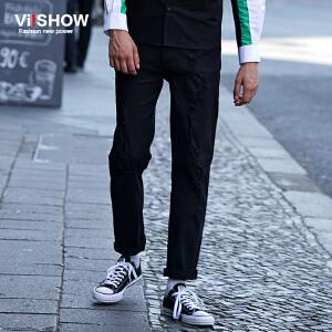 VIISHOW秋装新款牛仔裤水洗猫须破洞牛仔长裤纯色直筒裤子男
