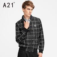 以纯A21男装格子立领夹克 2017春装新品潮男时尚个性帅气男士外套