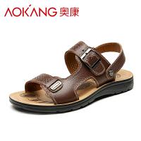 奥康夏季男士凉鞋 沙滩鞋头层牛皮男鞋牛皮透气凉拖鞋
