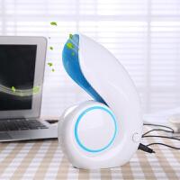 迷你创意办公室桌面无叶风扇静音迷你便携USB学生寝室时尚潮流小风扇 蓝色 均码