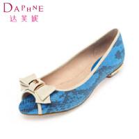 Daphne/达芙妮女鞋 俏皮蝴蝶结鱼嘴浅口女单鞋1014102129