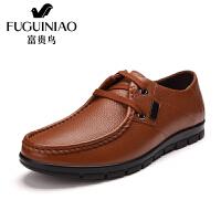 富贵鸟 头层牛皮韩版休闲系带舒适潮流休闲鞋