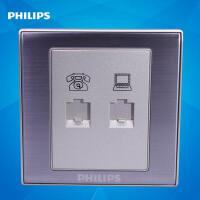 飞利浦墙壁插座面板86型金属系列Q8 801PC-4TU电话+电脑插座