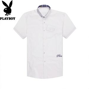 花花公子纯棉短袖衬衫男时尚休闲商务纯色翻领男士短袖衬衫