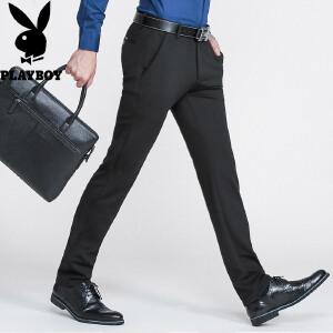 花花公子春季款男士商务休闲裤弹力修身裤子男装黑色时尚长裤子
